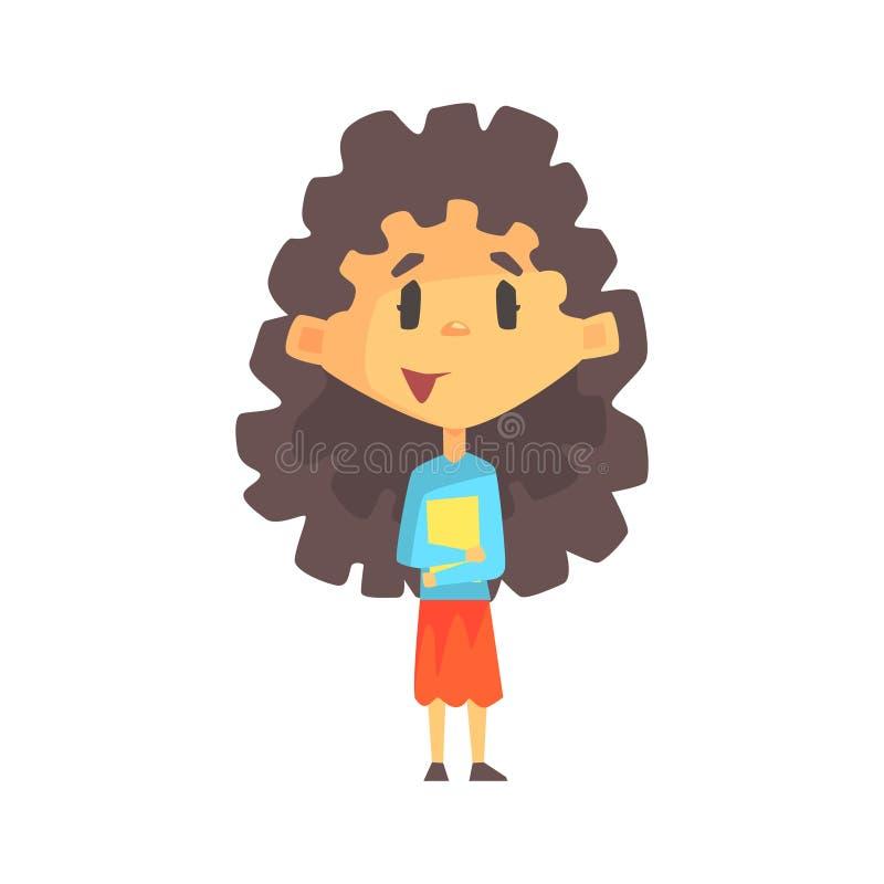 Muchacha femenina con el pelo oscuro largo que sostiene los libros, niño de la escuela primaria, miembro elemental de la clase, e ilustración del vector