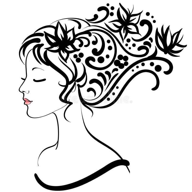 Muchacha floral del resorte ilustración del vector