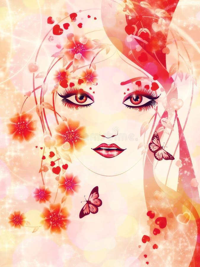 Muchacha floral roja stock de ilustración