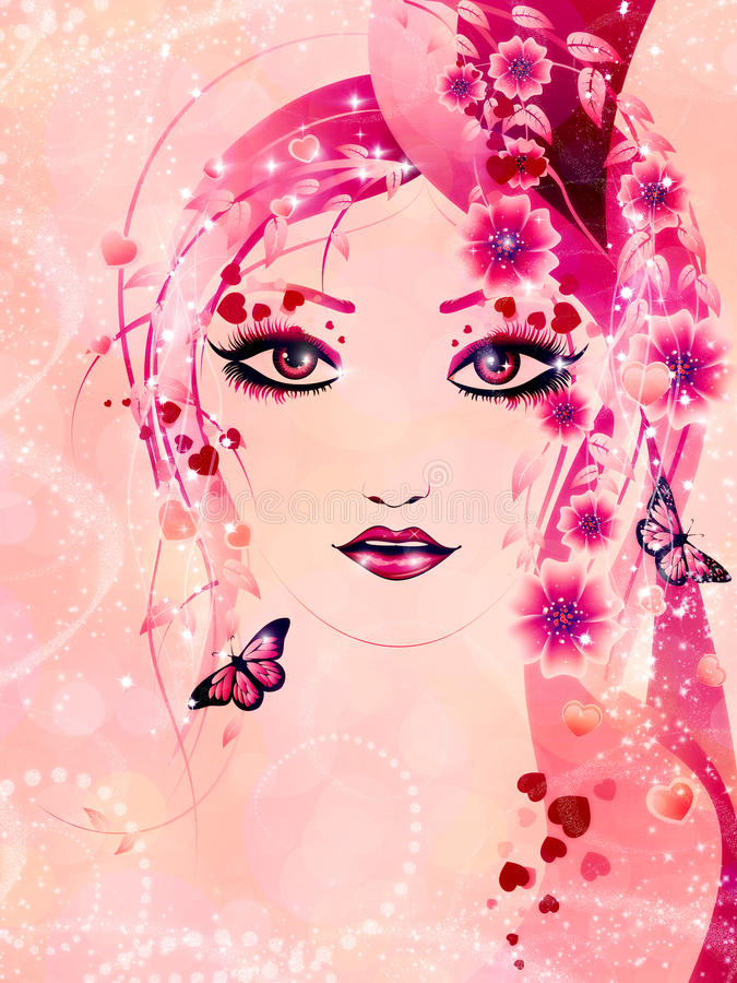 Muchacha floral rosada ilustración del vector