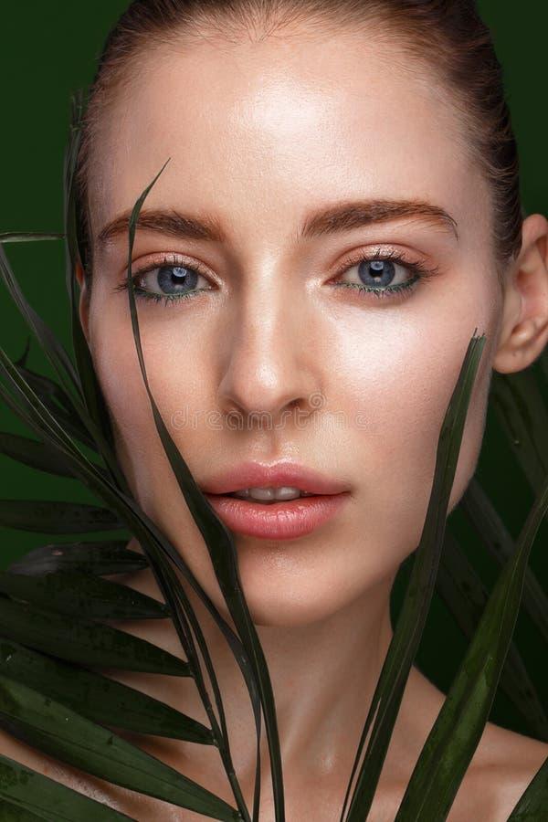 Muchacha fresca hermosa con crema cosmética en la cara, el maquillaje natural y las hojas del verde Cara de la belleza foto de archivo