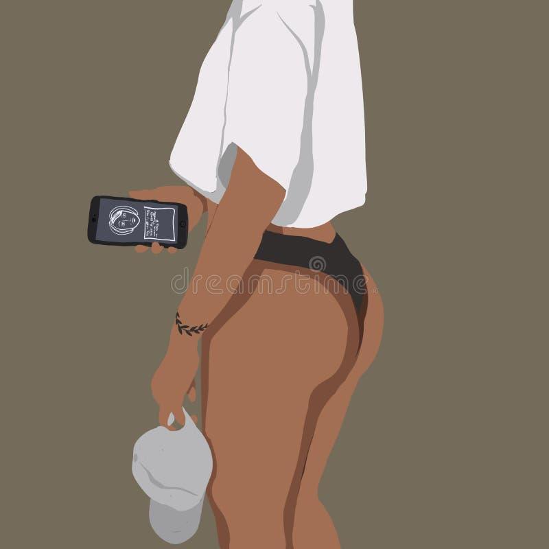 Muchacha fuerte con el teléfono y el t-cortocircuito blanco libre illustration