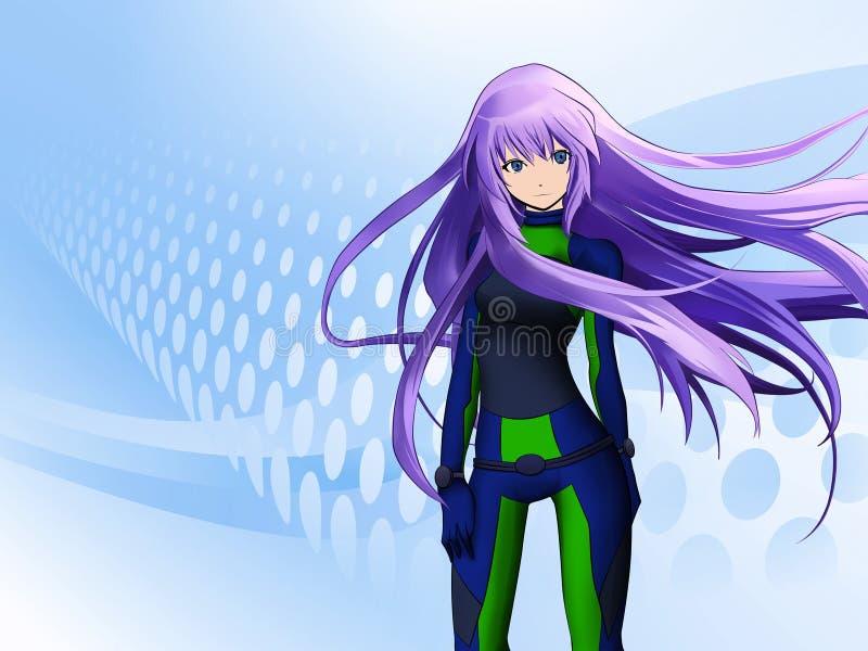 Muchacha futurista del anime ilustración del vector