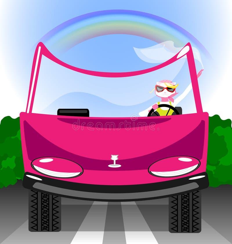 muchacha-gato en el coche libre illustration
