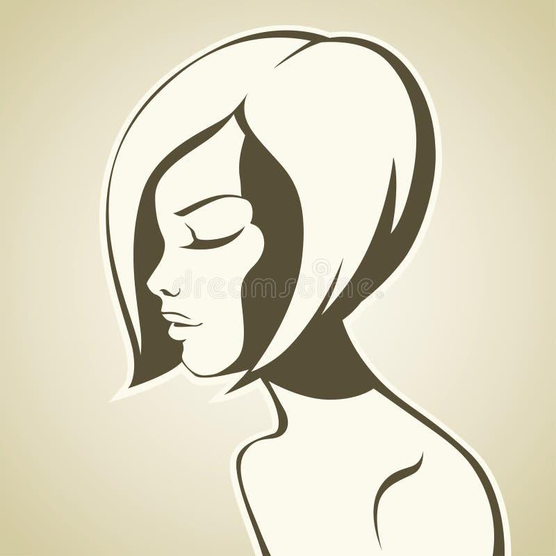 Muchacha gráfica con corte de pelo de la sacudida stock de ilustración