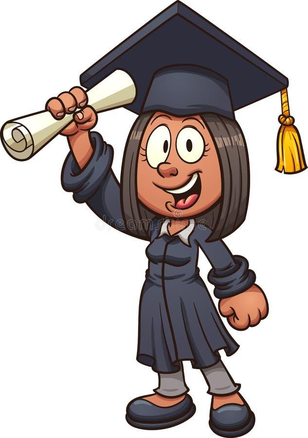 Muchacha graduada stock de ilustración