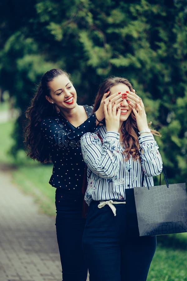 Muchacha hacer sorpresa emocional a su bestfriend que cubre ojos con las manos imagen de archivo