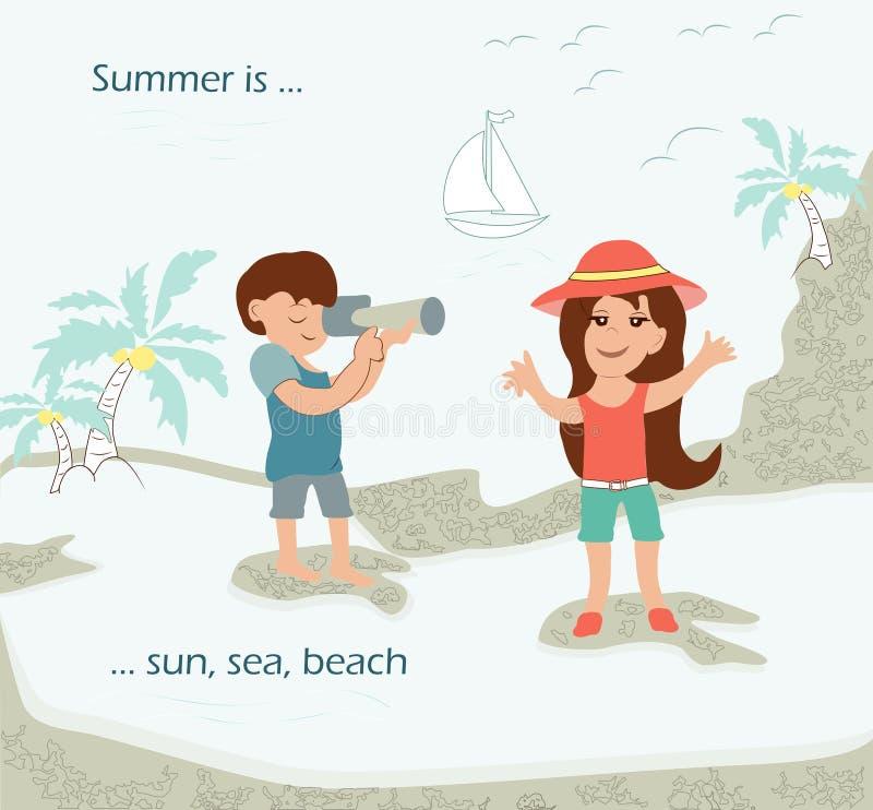 Muchacha hermosa, bonita con un muchacho alegre el las vacaciones que descansan o ilustración del vector