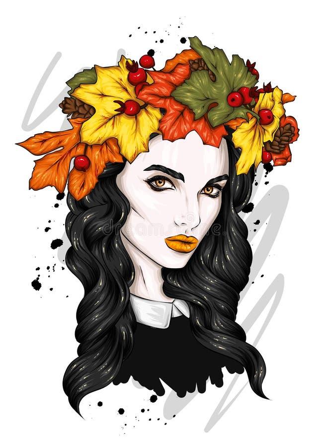 Muchacha hermosa con el pelo largo en una guirnalda de las hojas de otoño Ojos grandes y labios llenos Ilustraci?n del vector fotografía de archivo
