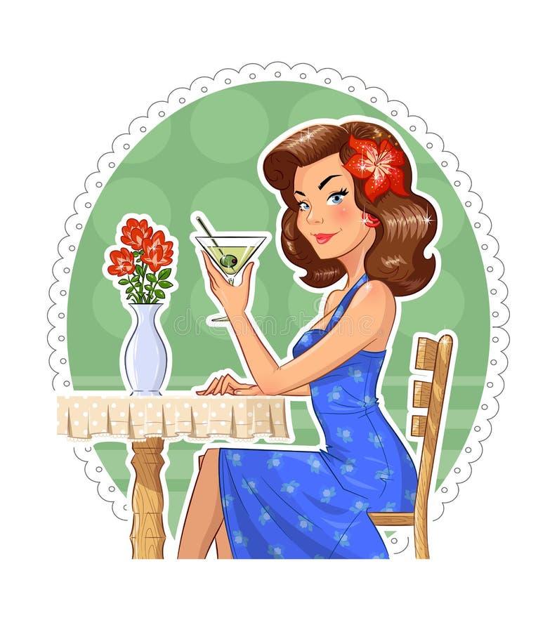 Muchacha hermosa con el vidrio de martini stock de ilustración