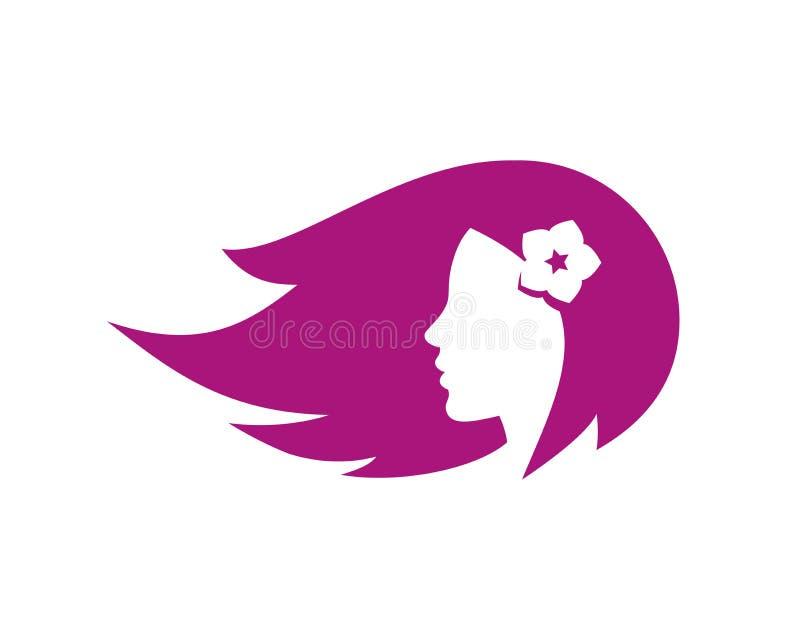 Muchacha hermosa con la flor en el pelo stock de ilustración