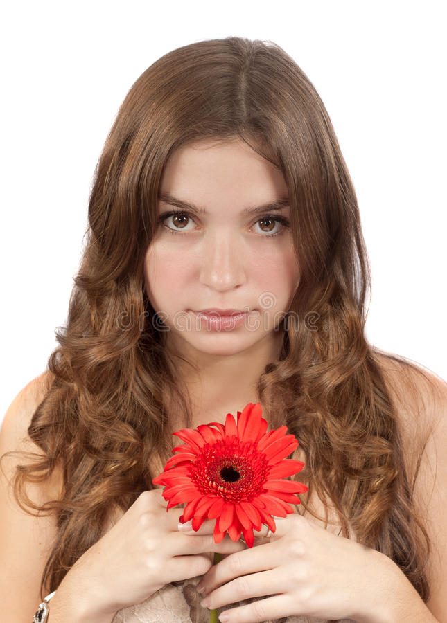 Muchacha hermosa con la flor roja imágenes de archivo libres de regalías