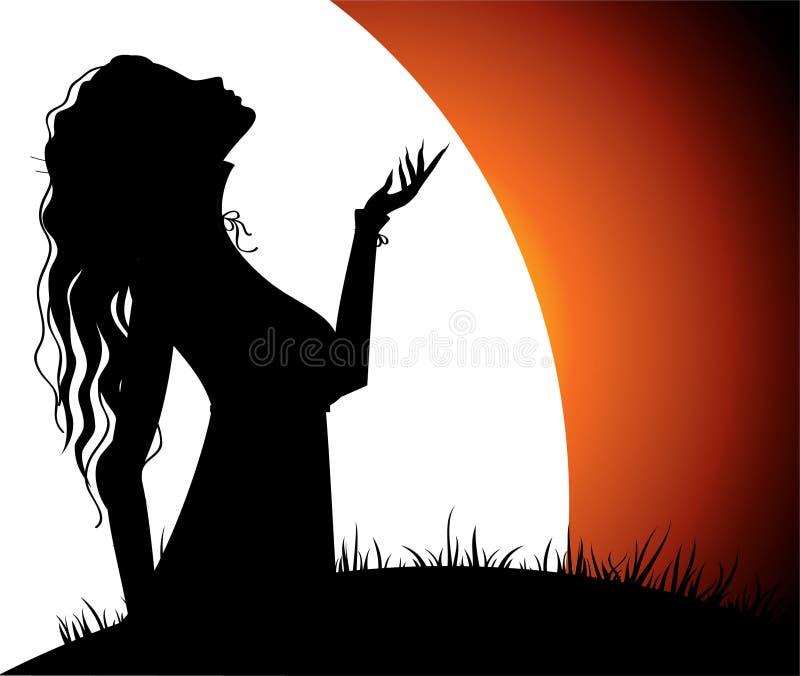 Muchacha hermosa con la luna ilustración del vector