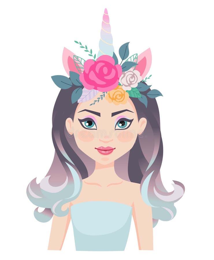 Muchacha hermosa con la máscara del unicornio Vector los ejemplos para las tarjetas de cumpleaños, invitaciones del partido libre illustration