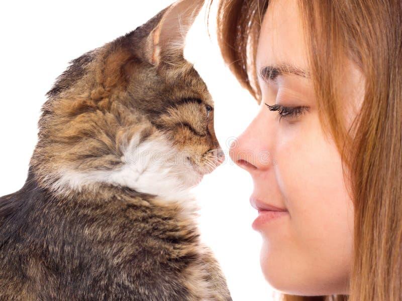 Muchacha hermosa con la nariz-a-nariz de un gatito imágenes de archivo libres de regalías