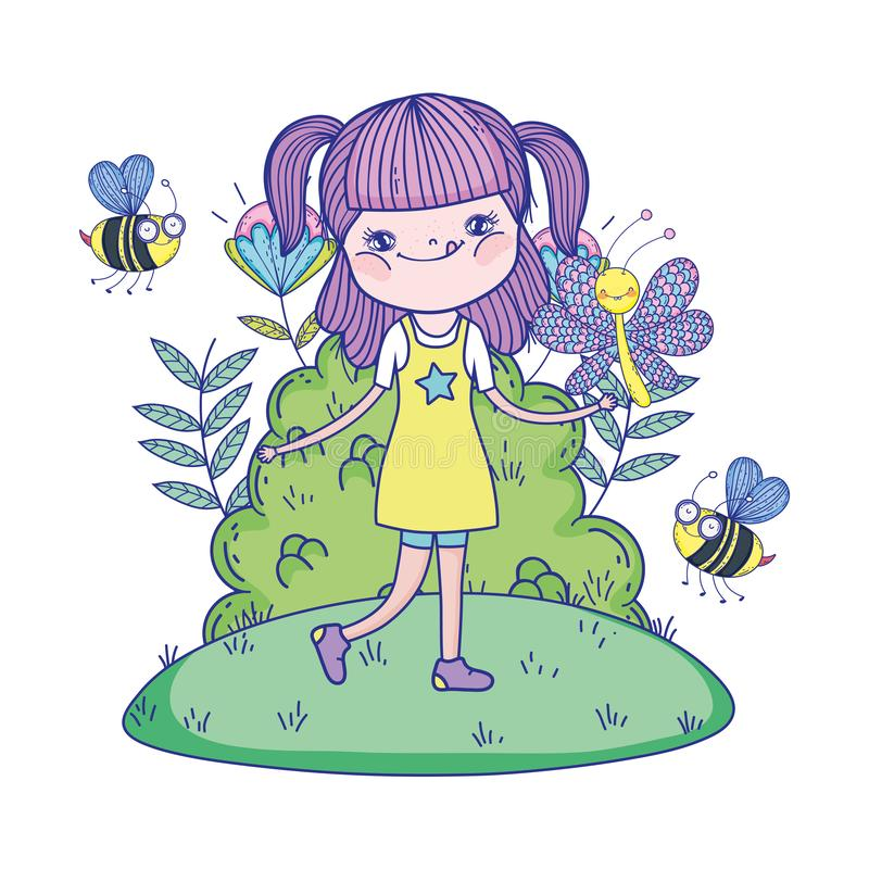 Muchacha hermosa con las abejas en los caracteres del campo stock de ilustración
