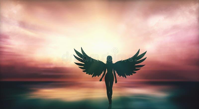 Muchacha hermosa con las alas del ángel que camina en la costa en la puesta del sol ilustración del vector