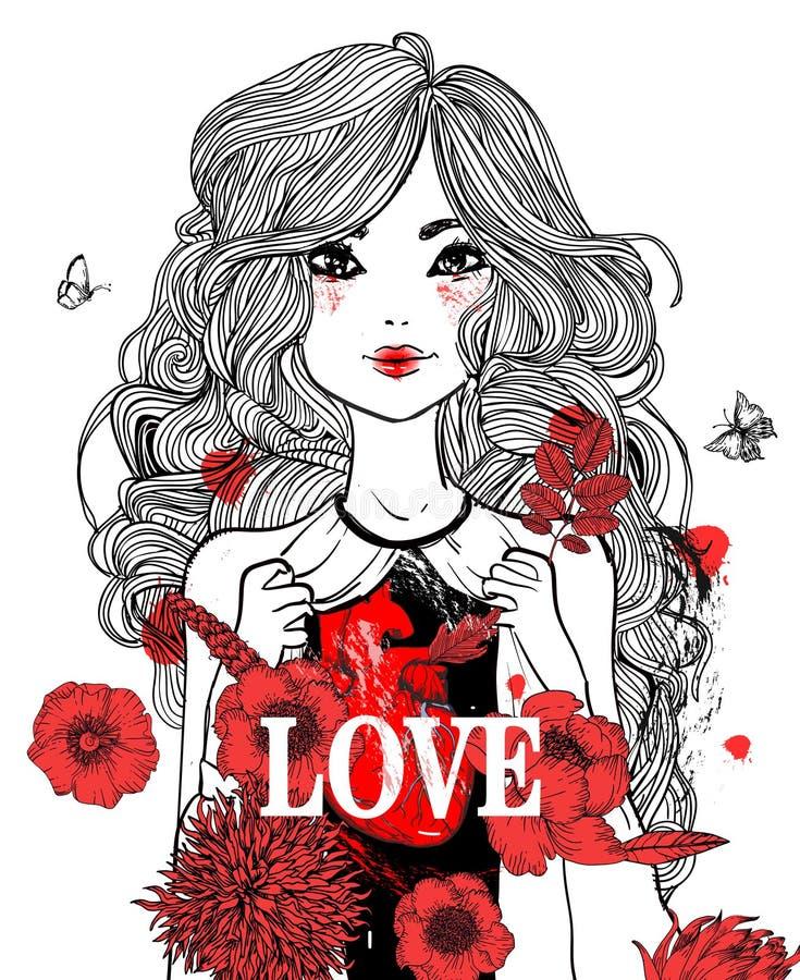 Muchacha hermosa con las flores stock de ilustración