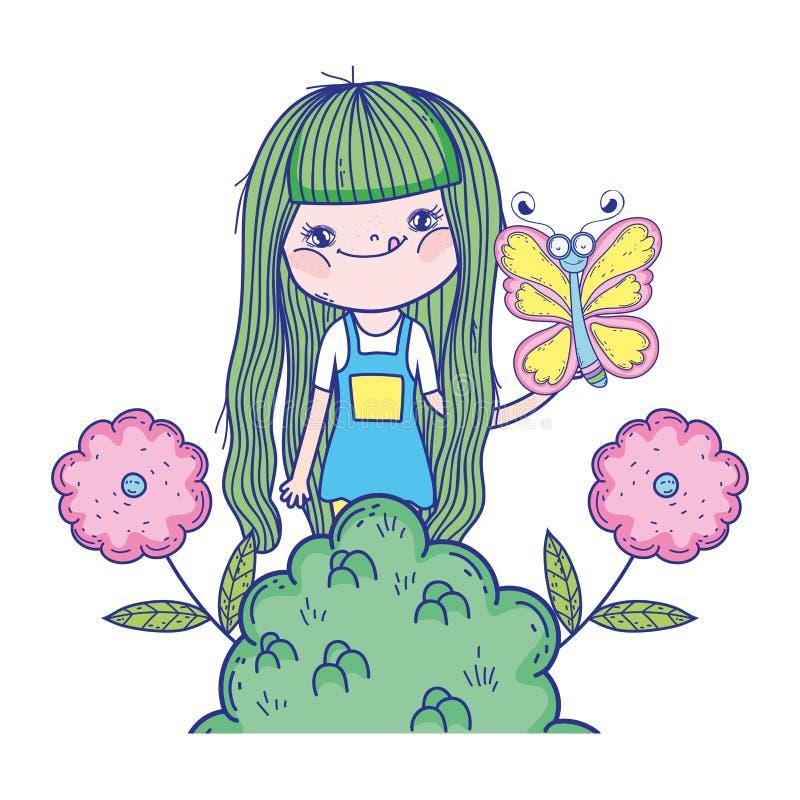 Muchacha hermosa con los caracteres de la mariposa stock de ilustración