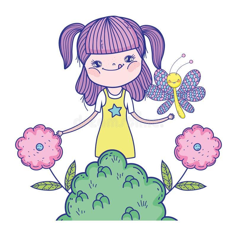 Muchacha hermosa con los caracteres de la mariposa ilustración del vector