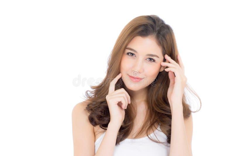 Muchacha hermosa con maquillaje, concepto cosmético del cuidado de la mujer y de piel/la muchacha asiática atractiva en cara foto de archivo libre de regalías