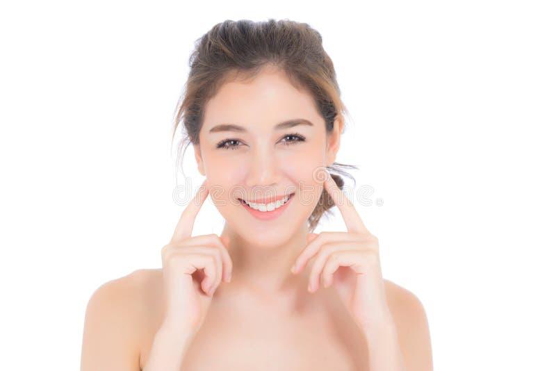 Muchacha hermosa con maquillaje, concepto cosmético del cuidado de la mujer y de piel/la muchacha asiática atractiva en cara fotografía de archivo libre de regalías