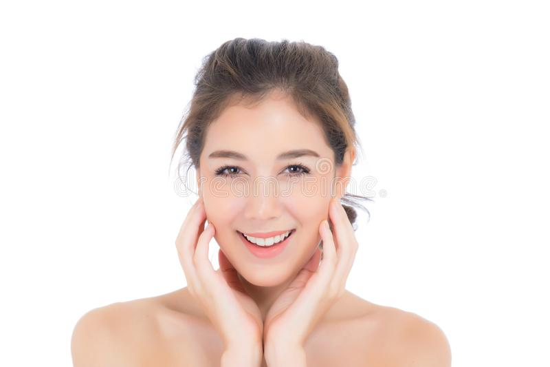 Muchacha hermosa con maquillaje, concepto cosmético del cuidado de la mujer y de piel/la muchacha asiática atractiva en la cara a fotos de archivo libres de regalías