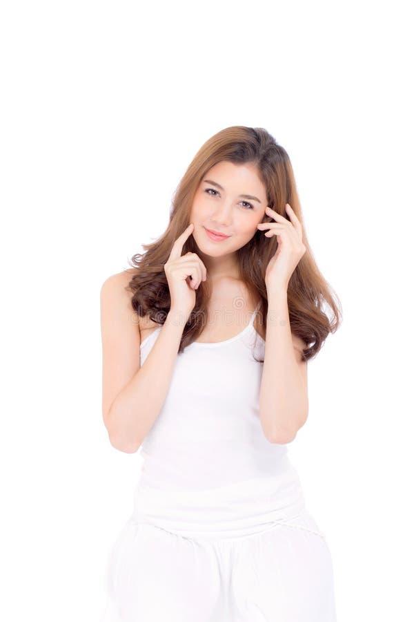 Muchacha hermosa con maquillaje, concepto cosmético del cuidado de la mujer y de piel/la muchacha asiática atractiva en la cara a foto de archivo libre de regalías