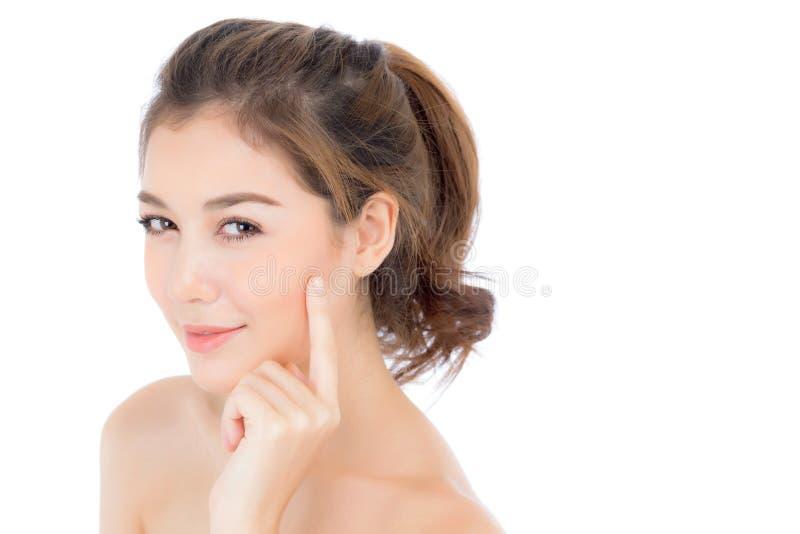 Muchacha hermosa con maquillaje, concepto de los cosméticos del cuidado de la mujer y de piel/la muchacha asiática atractiva smil foto de archivo libre de regalías