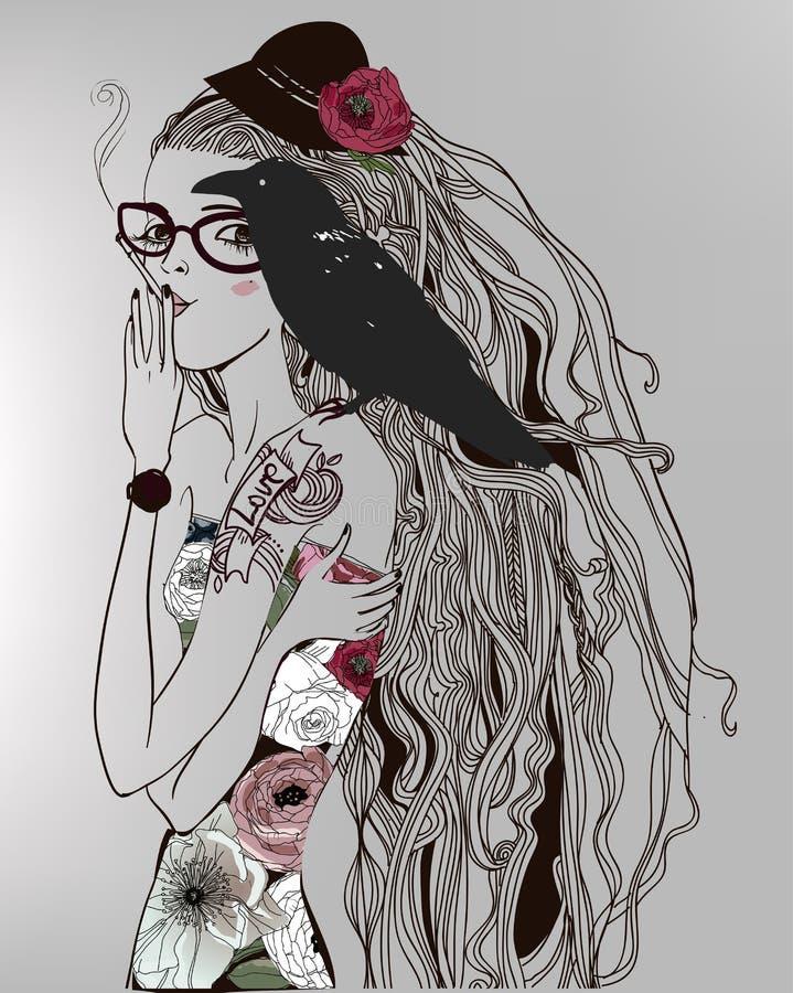 Muchacha hermosa con un cuervo stock de ilustración
