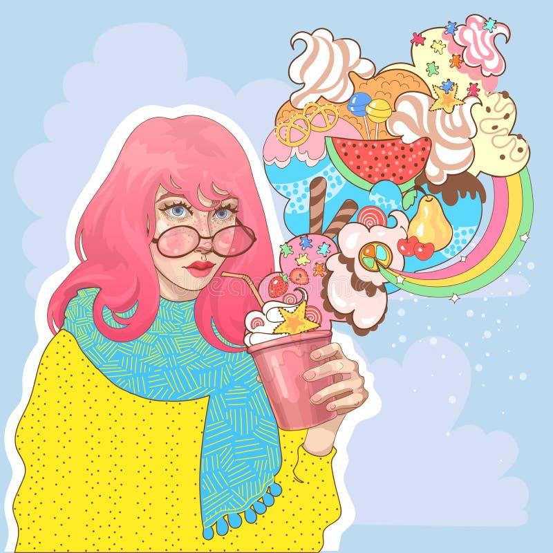 Muchacha hermosa con un vidrio de yogur del helado stock de ilustración