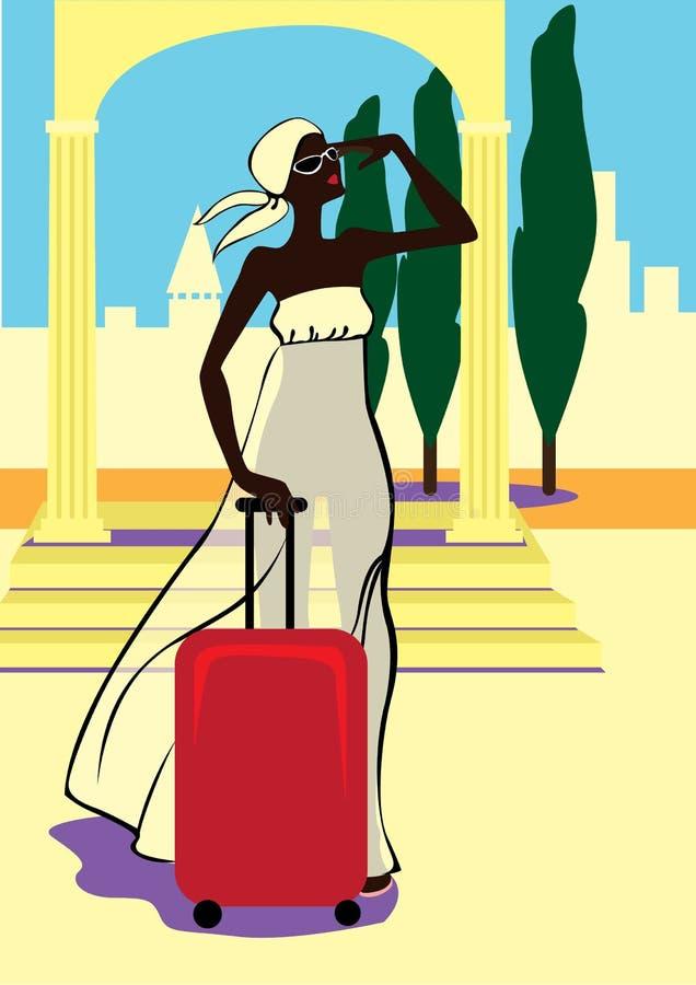 Muchacha hermosa con una maleta stock de ilustración