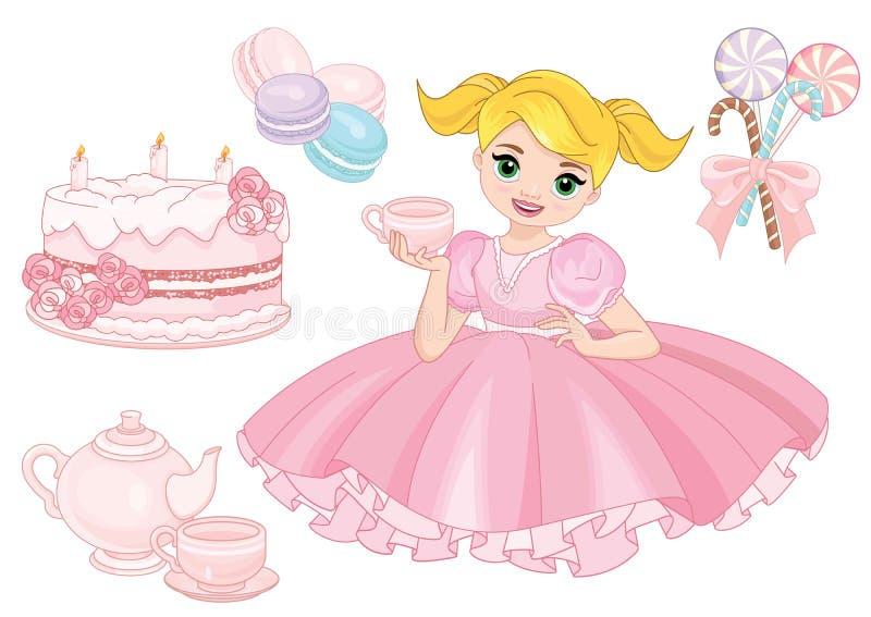 Muchacha hermosa con una torta de cumpleaños stock de ilustración