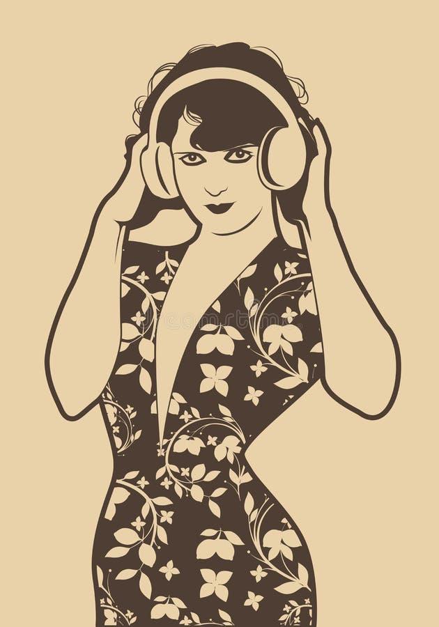 Muchacha hermosa de la aleta con los auriculares aislados Estilo retro libre illustration