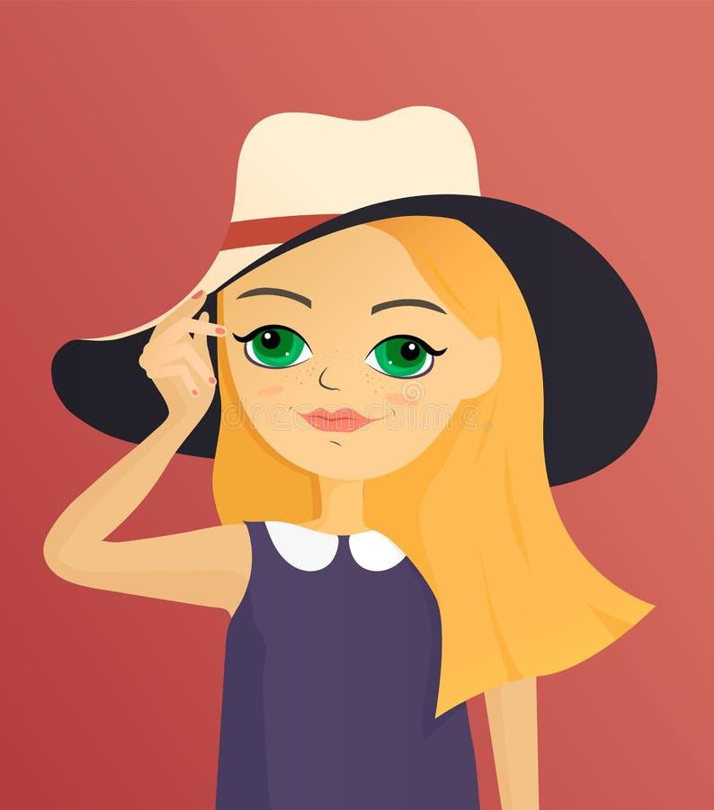 Muchacha hermosa de la historieta que sostiene sombrero Ejemplo lindo del car?cter stock de ilustración