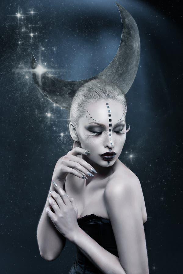 Muchacha hermosa de la luna fotos de archivo