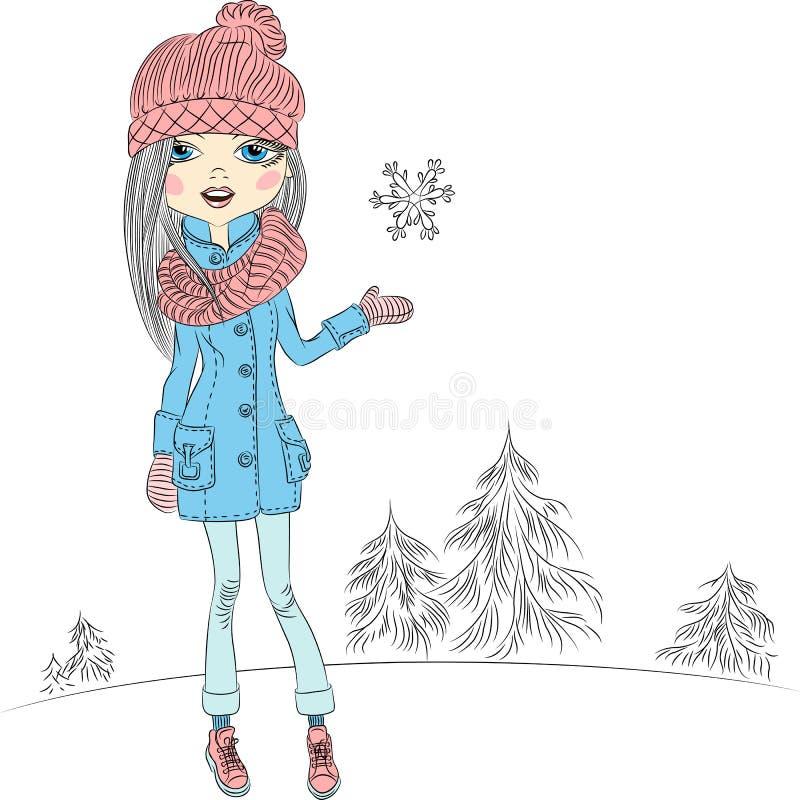 Muchacha hermosa de la moda del vector en invierno ilustración del vector