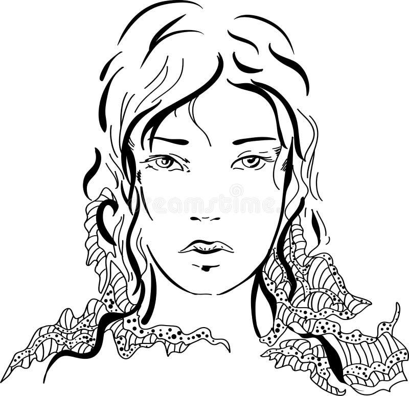 Muchacha hermosa de la silueta gráfica libre illustration
