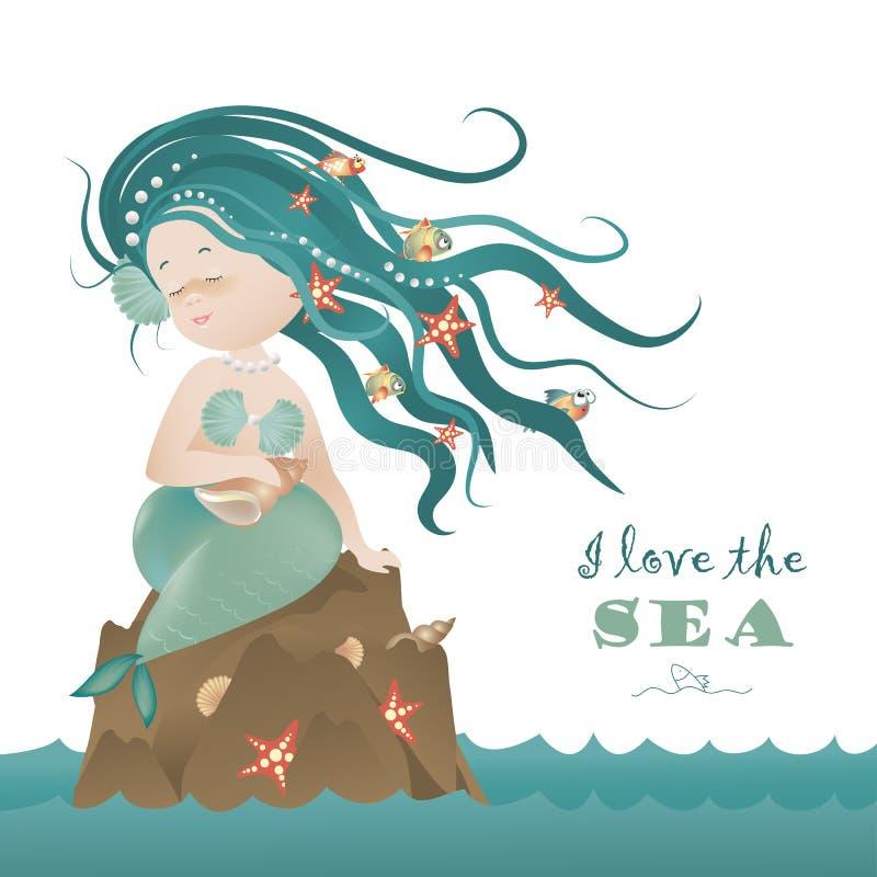 Muchacha hermosa de la sirena que se sienta en la roca stock de ilustración