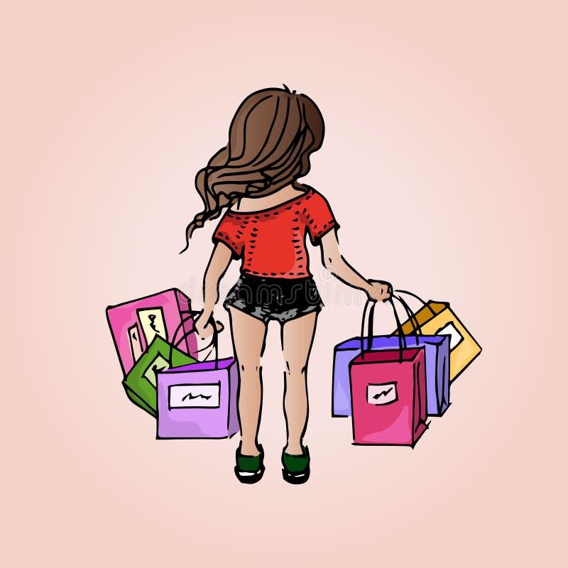 Muchacha hermosa del ejemplo Compras compras Muchacha-estudiante el vacaciones ilustración del vector