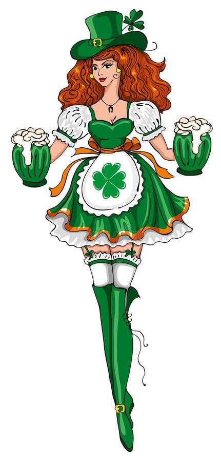 Muchacha hermosa del leprechaun stock de ilustración