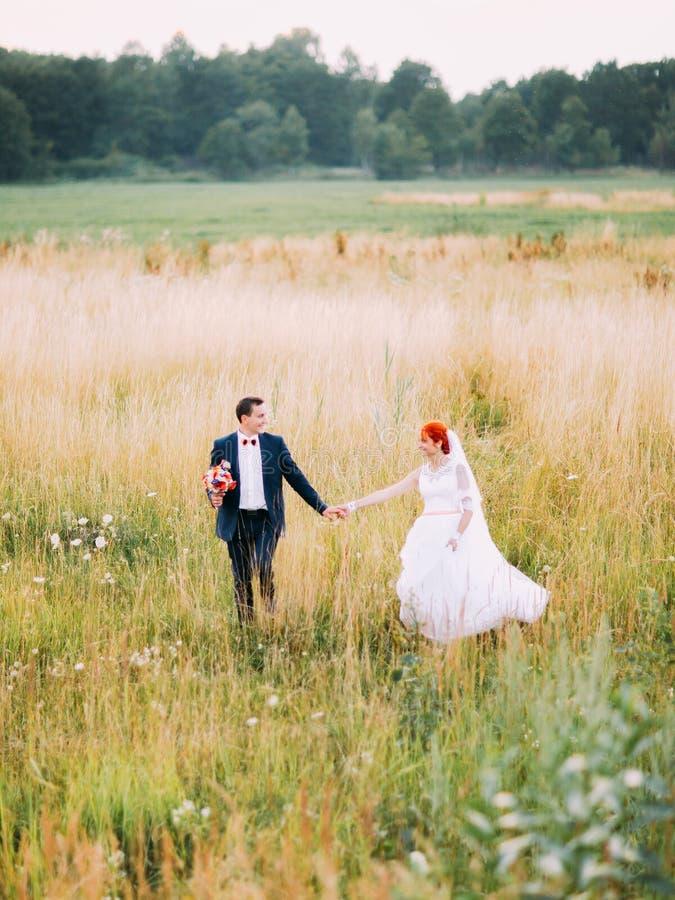 Muchacha hermosa del redhair en un vestido blanco y un novio agradable con el ramo que caminan en campo de trigo en la puesta del fotografía de archivo