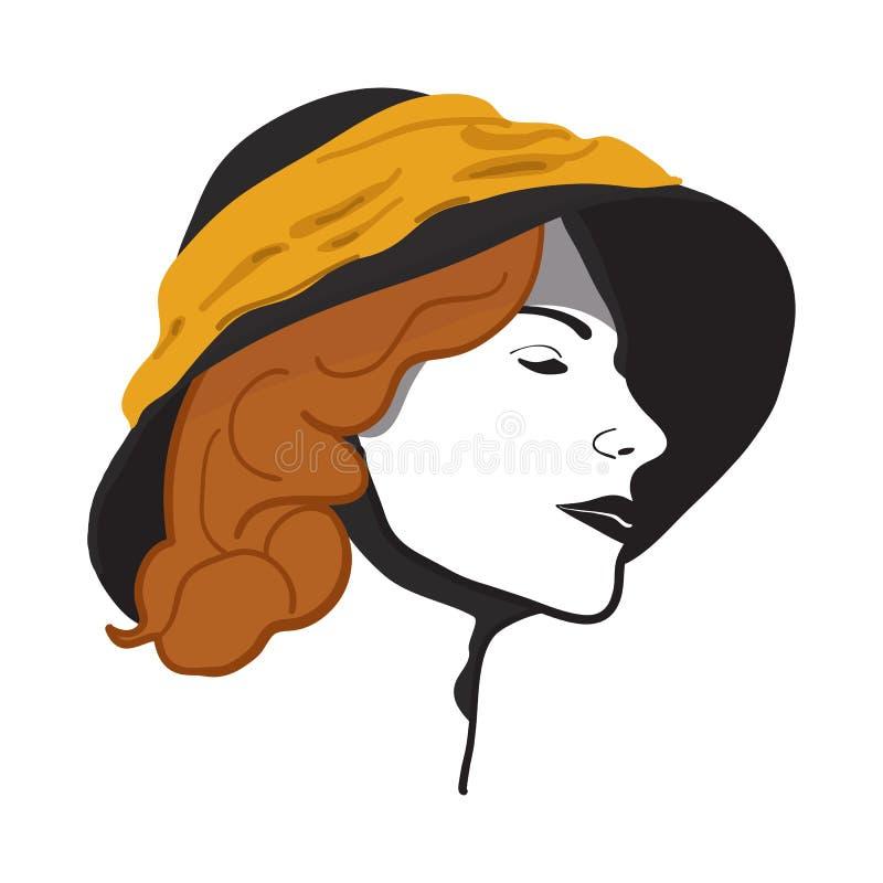 Muchacha hermosa del retrato en sombrero ilustración del vector