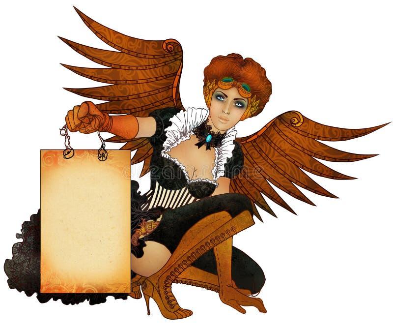 Muchacha hermosa del steampunk con las alas stock de ilustración