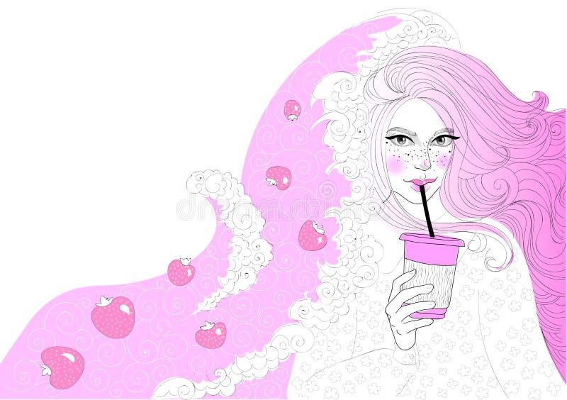 Muchacha hermosa del vector con un batido de leche de la fresa ilustración del vector