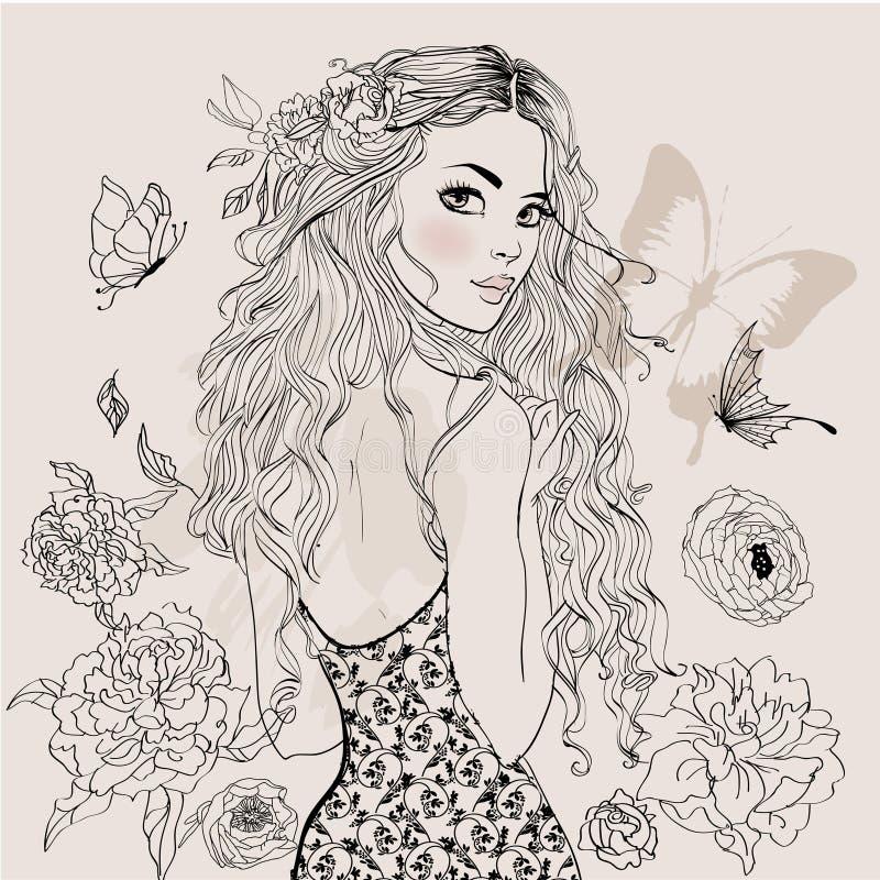 Muchacha hermosa del verano ilustración del vector