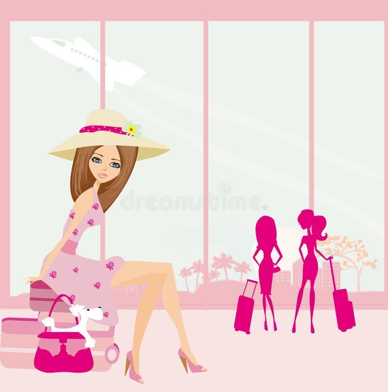Muchacha hermosa del viajero con equipaje en aeropuerto libre illustration