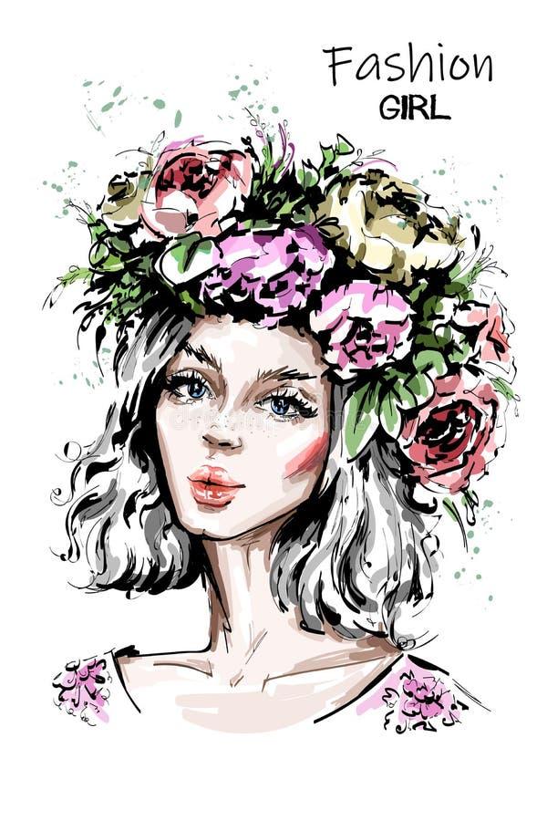Muchacha hermosa dibujada mano del bosque en guirnalda de la flor La mujer joven parece una dríada de la ninfa Retrato de la muje libre illustration