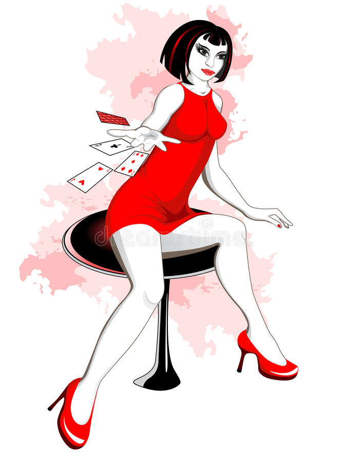 Muchacha hermosa en casino libre illustration
