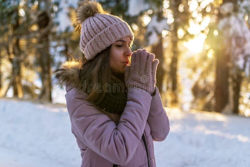 Muchacha hermosa en el bosque en la puesta del sol fotos de archivo libres de regalías